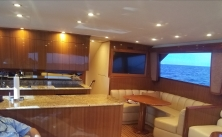 Live to Fish aboard 60' Viking Yacht, view upon entering the main saloon, facing towards the bow.